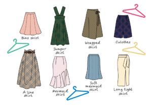 8種のラインのスカート