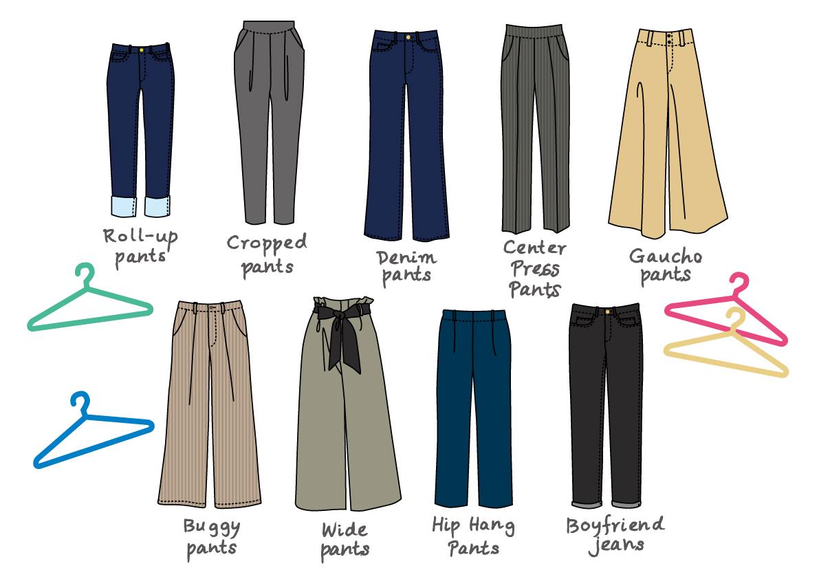 9種類のラインのパンツ